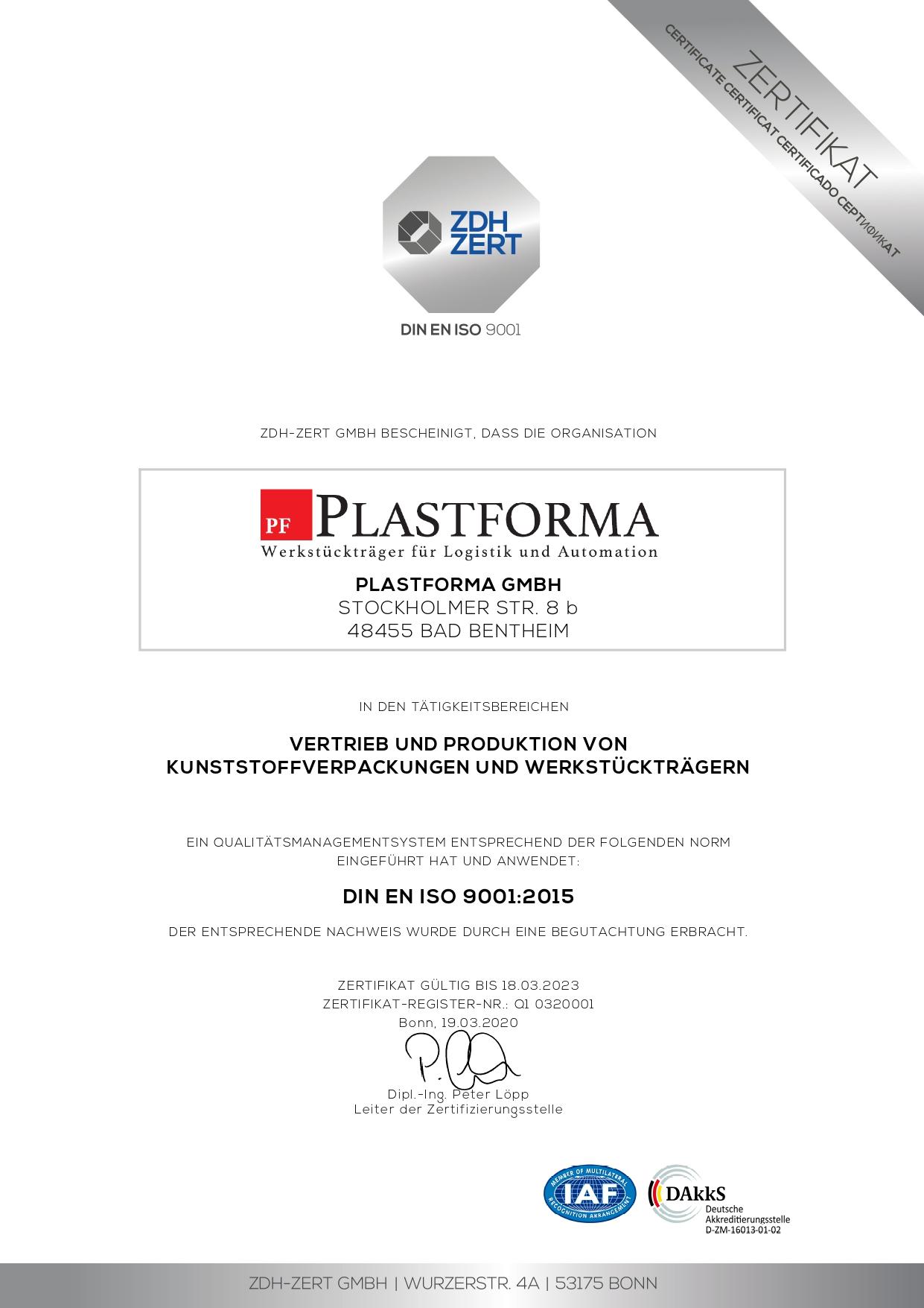 Zertifikat - DIN ISO 9001 - Deutsch